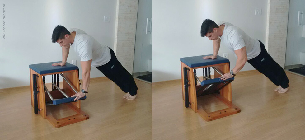 One arm push on Chair